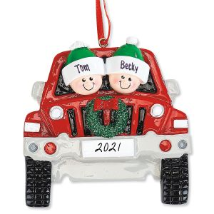 Personalized Red Truck Family Christmas Ornament