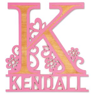 Personalized Pink Name & Initial Plaque