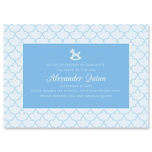 Blue Scalloped Personalized Birth Announcement