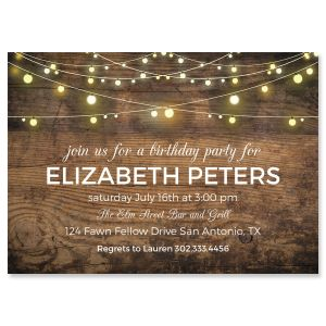 Rustic Lights Personalized Invitations