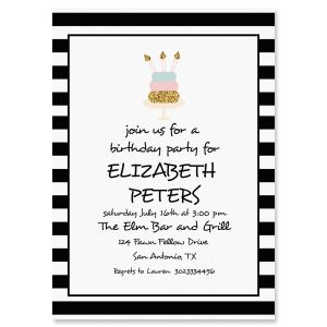 Stripes with Cake Personalized Invitations