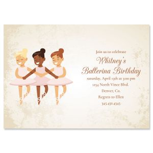 Ballerina Dancers Birthday Personalized Invitations