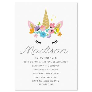 Bashful Unicorn Birthday Personalized Invitations