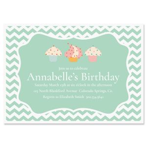 Cheveron Cupcake Personalized Birthday Invitations