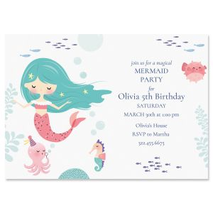 Mermaid Birthday Personalized Invitations
