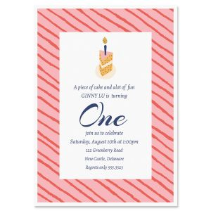 Piece of Cake Birthday Personalized Invitation