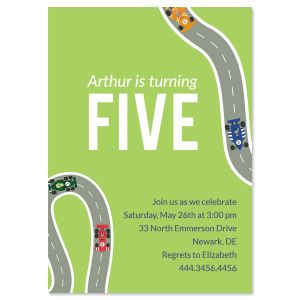 Race Car Birthday Personalized Invitations