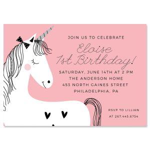 Simple Unicorn Birthday Personalized Invitations