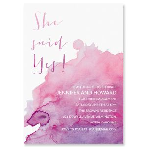 She said yes Watercolor Personalized Engagement Invitations