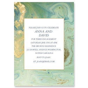 Teal and Gold Agate Personalized Invitations