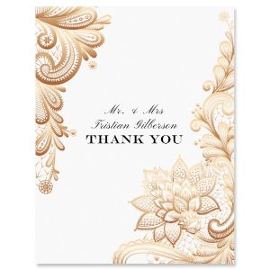 Gold Lace Personalized Thank You Cards