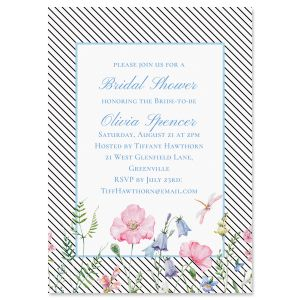 Diagonal Stripped Floral Personalized Invitations