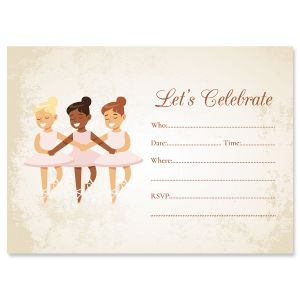 Ballerina Birthday Fill In The Blank Invitations