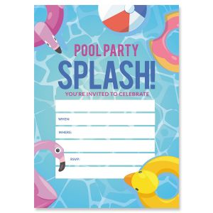 Pool Party Birthday Fill In The Blank Invitations