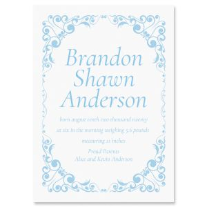 Blue Filigree Frame Birth Announcements