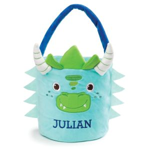 Personalized Plush Dinosaur Easter Basket