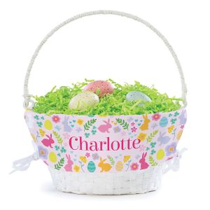 Personalized Bunny Easter Basket with Liner