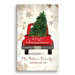 Personalized Christmas Red Truck Canvas