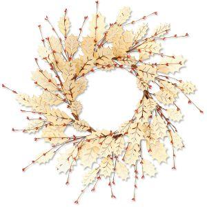 Holly Berries & Wood Leaves Wreath