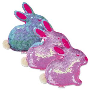 Reversible Sequin Bunny Pillow
