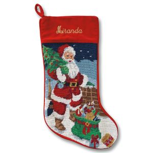 Santa Heirloom Needlepoint Personalized Christmas Stocking