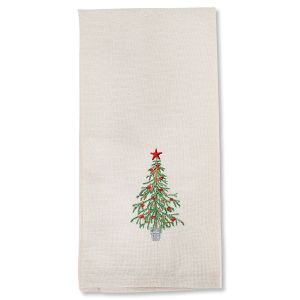 Christmas Tree Embroidered Dish Towel