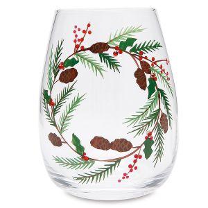Christmas Wreath Hand-Painted Wine Glass