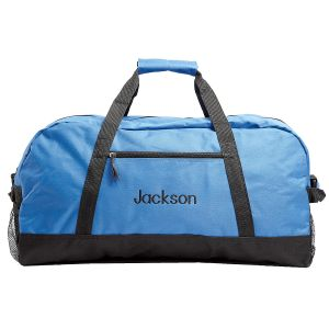 Blue and Black Duffel Bag