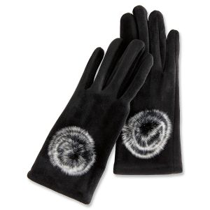 Stay in Touch Black Gloves with Fur Pom Poms