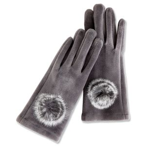 Stay in Touch Grey Gloves with Fur Pom Poms