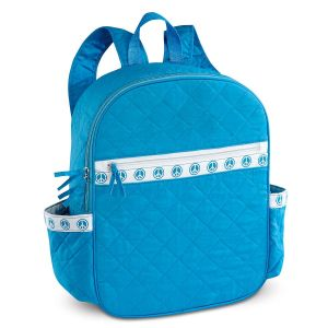Quilted Aqua Peace Design Backpack
