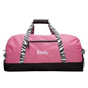 Pink Zebra Print Personalized Duffel Bags