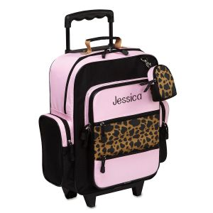 Pink and Cheetah Rolling Luggage