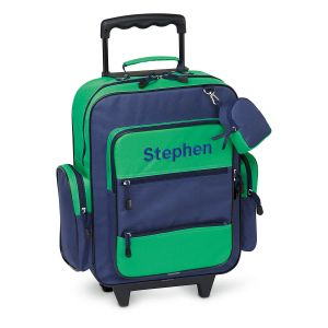 "Navy and Green 18"" Personalized Rolling Luggage"