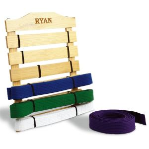 Personalized Wooden Martial Arts Belt Rack