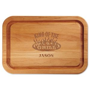 King of the Grill Personalized Wood Cutting Board