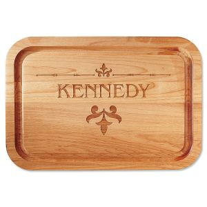 Alder Fleur de lis Personalized Wood Cutting Board