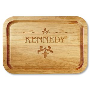 Alder Wood Fleur de lis Personalized Cutting Board
