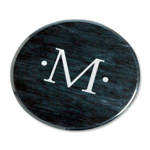 Monogrammed Marble Lazy Susan in Black