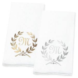 Wreath Initial Guest Hand Towels