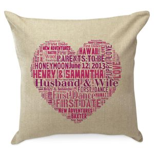 Word Art Heart Personalized Pilllow