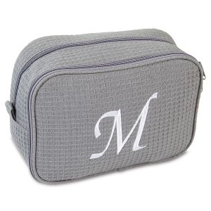 Waffle Weave Cosmetic Bag-Grey-815639E