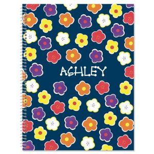 Navy Floral Large Spiral Notebook