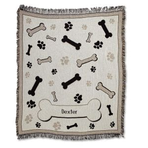 Bones and Paw Prints Pet Throw