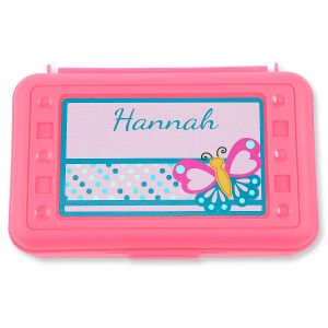 Personalized Pink Butterfly Pencil Box