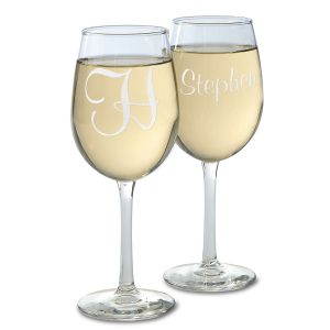 Personalized Script Stemmed Wine Glasses
