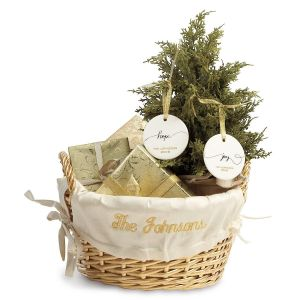 Gold Basket with Personalized Cream Liner