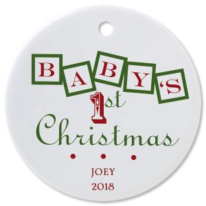 Baby's 1st Round Christmas Personalized Ornaments