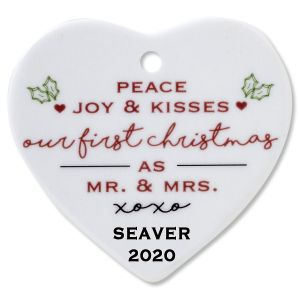 Peace, Joy & Kisses Heart Wedding Christmas Personalized Ornaments