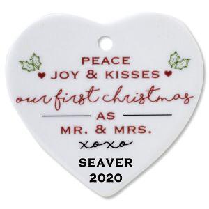 Peace, Joy & Kisses Heart Wedding Christmas Personalized Ornaments